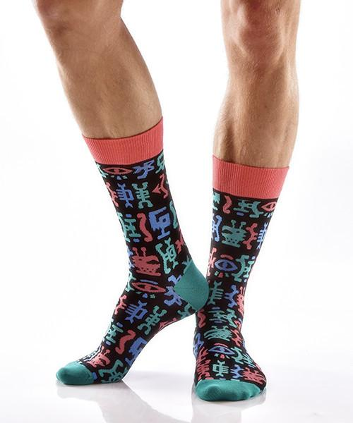 Hieroglyphics Men's Crew Socks Model Image Side | Yo Sox Canada