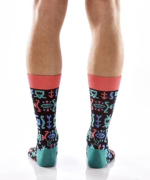 Hieroglyphics Men's Crew Socks Model Image Back | Yo Sox Canada