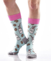 Mike and Cookies for Her Women's Crew Socks Model Image Side | Yo Sox Canada