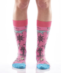 Down by the Bay Women's Crew Socks Model Image Front | Yo Sox Canada