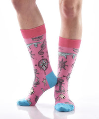 Down by the Bay Women's Crew Socks Model Image Side | Yo Sox Canada