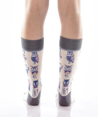 You're a Hoot Women's Crew Socks Model Image Back | Yo Sox Canada