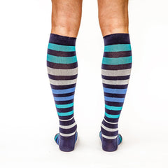 Stripe Up: Men's Knee-High Compression Socks on Model Back | Yo Sox Canada