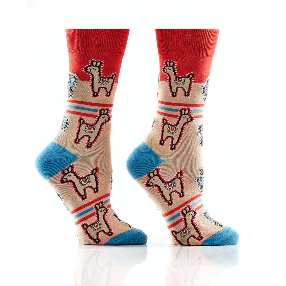 Save The Drama for the Llama: Women's Crew Socks - Yo Sox Canada