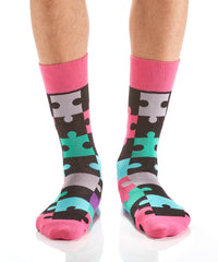Puzzled: Men's Crew Socks - Yo Sox Canada