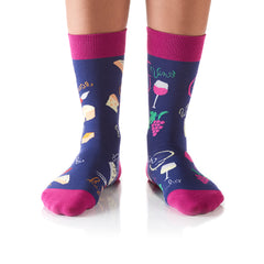Wine & Cheese: Women's Crew Socks - Yo Sox Canada