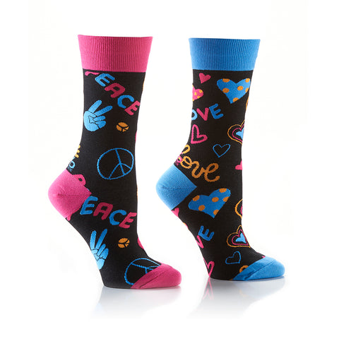 Peace Out: Women's Crew Socks - Yo Sox Canada
