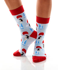 Parachuting Penguins: Women's Crew Socks