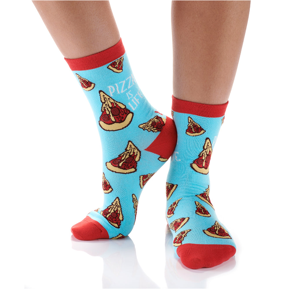 Pizza is Life Womens Crew Sox