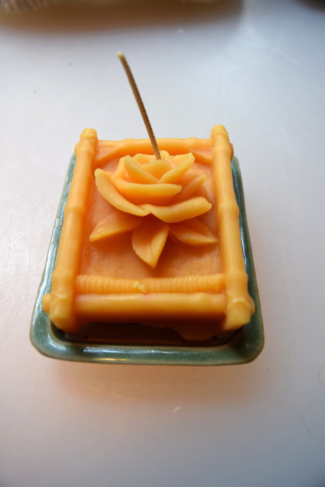 Rose Bamboo Beeswax Candle