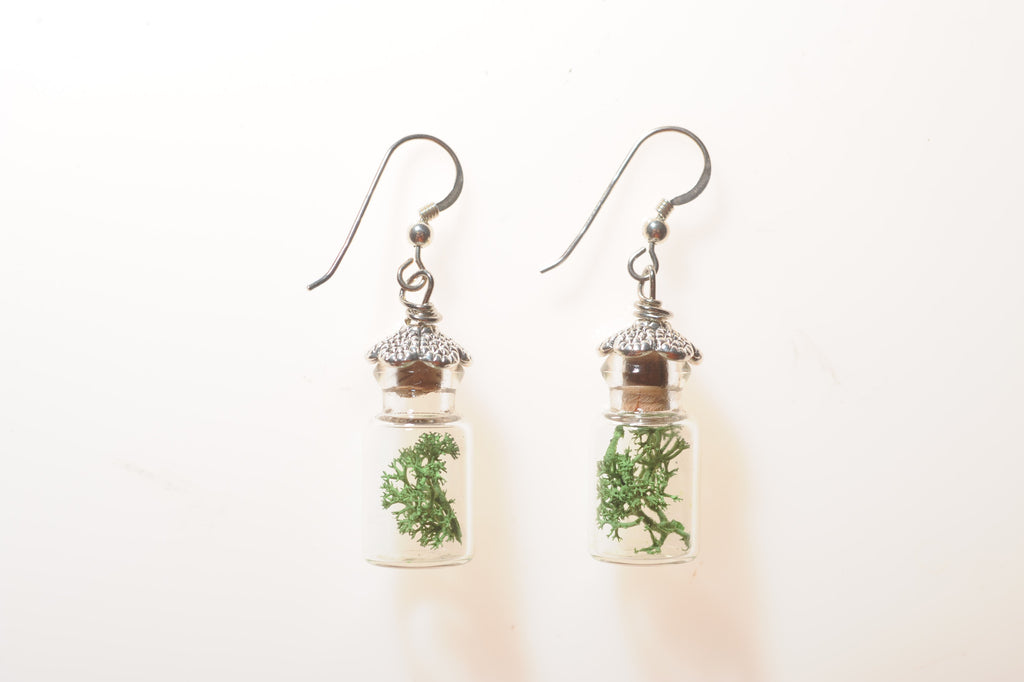 Jar Terrarium Earrings with Metal Tops