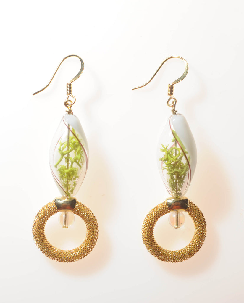 Glass Terrarium Earrings with Gold Mesh Hoops