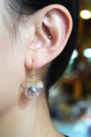 Wire Wrapped Heart Terrarium Earrings