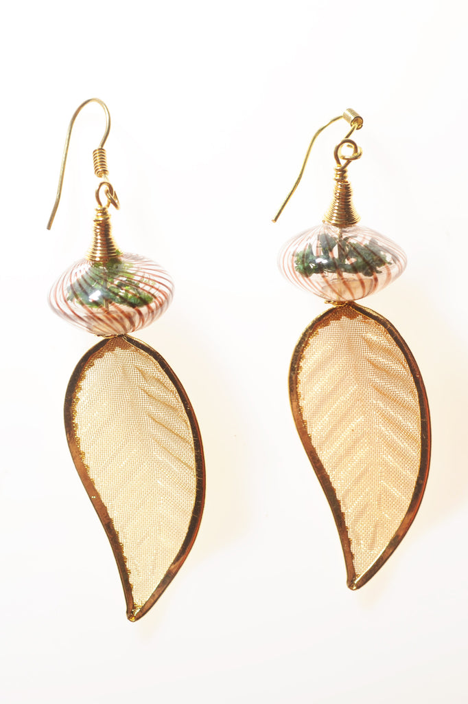 Ellipse Terrarium Earrings with Gold Mesh Leaves