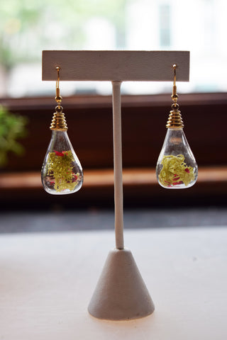 Teardrop Terrarium Earrings with Light Green Moss
