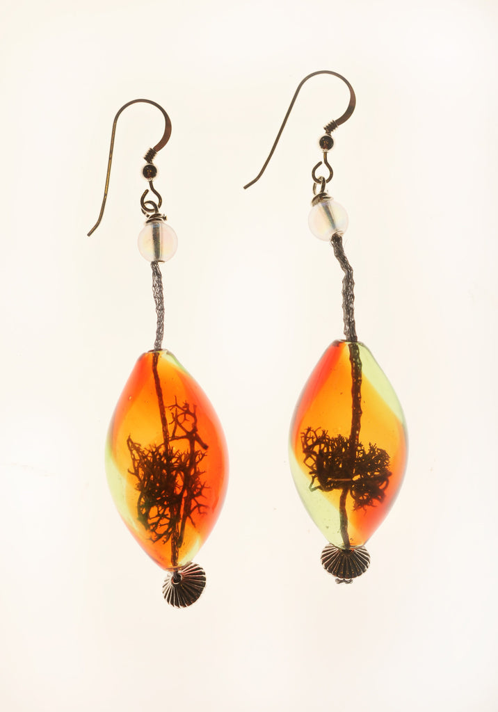 Orange Swirl Dangling Terrarium Earrings