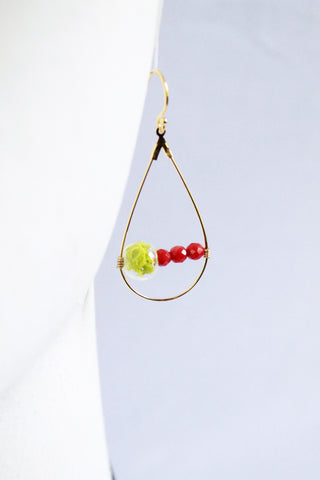 Red Sea Terrarium Teardrop Earrings
