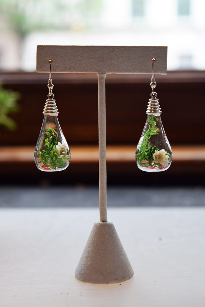 Teardrop Terrarium Earrings with Spanish Moss