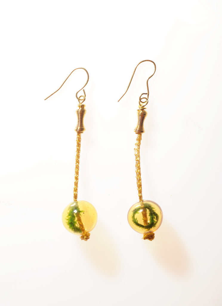 Vibrant Gold Hanging Terrarium Earrings