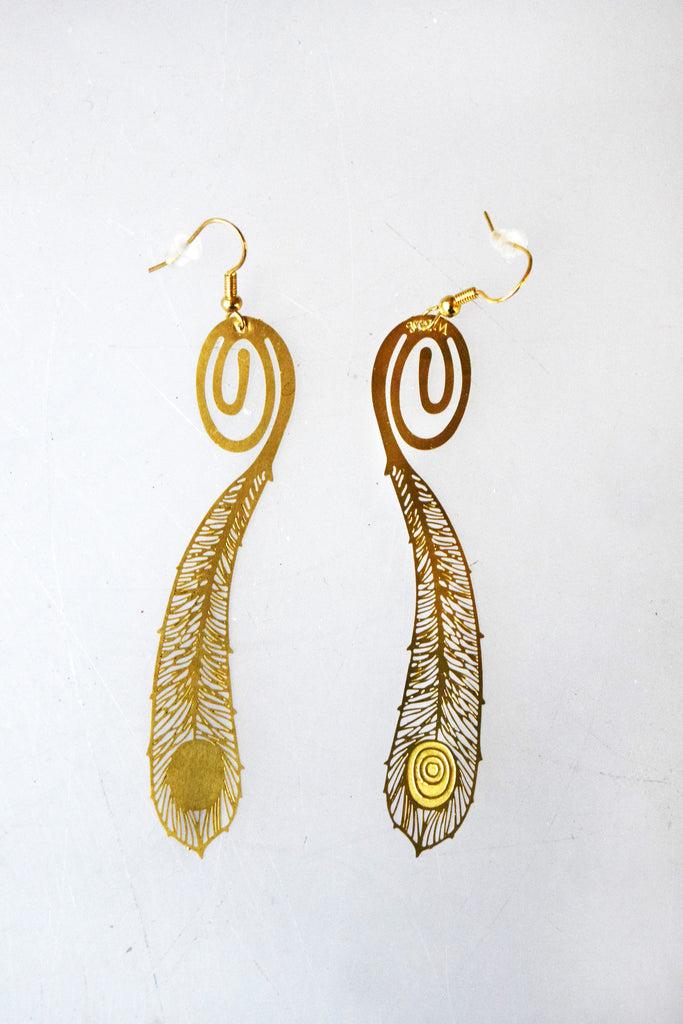 Peacock Feather Bookmark Earrings