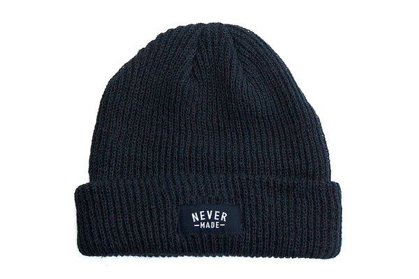 Never Made Micro Cuff Beanie - Black