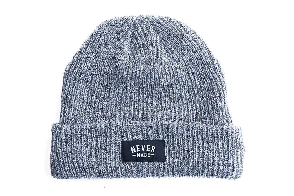 Never Made Micro Cuff Beanie - Gray