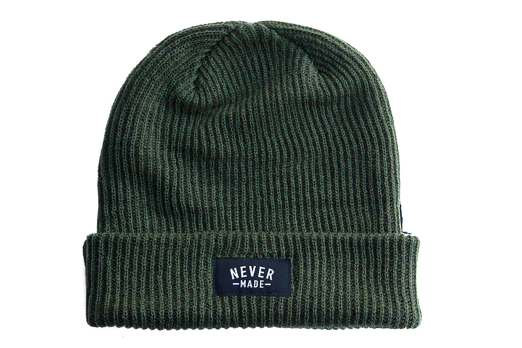 Never Made  Cuff Beanie - Green