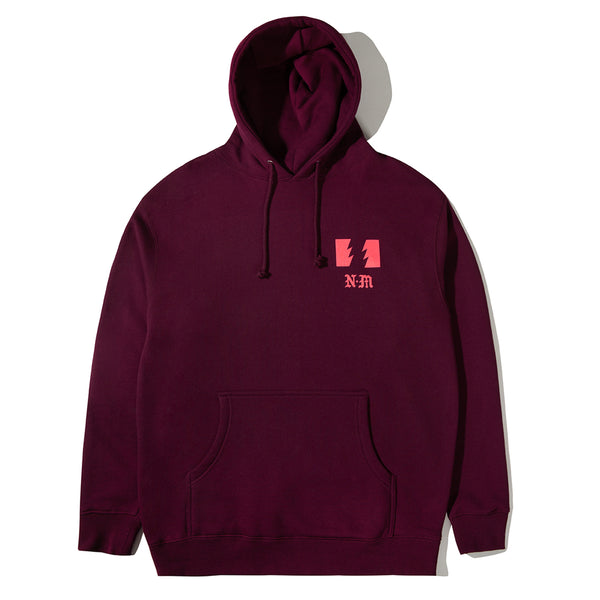 THE HUNDREDS X NEVER MADE WARNING PULLOVER BURGUNDY