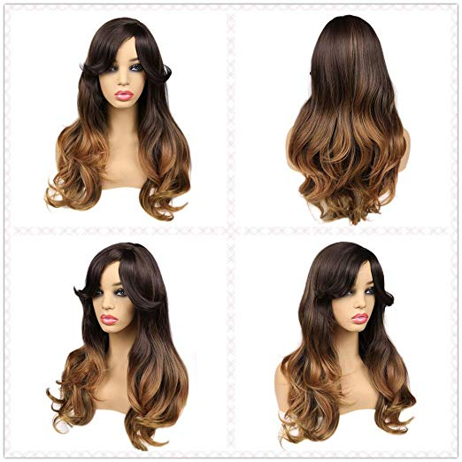 Ombre Wig Brown to Blonde Nature Wave Heat Resistant - BeautyGiant USA