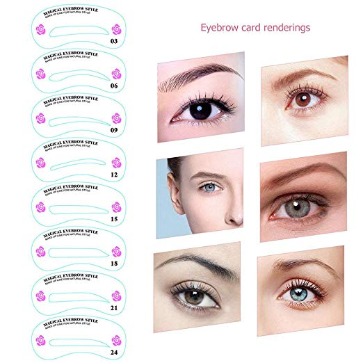 24 PCS Different Styles Eyebrow Shaping Stencils - BeautyGiant USA