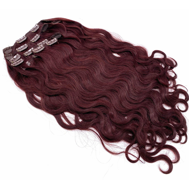 100% Remy Human Hair Clip Extensions/ Body Wave  18""
