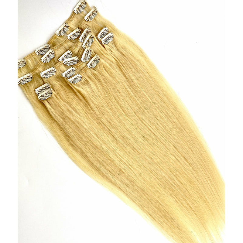 100% Remy Human Hair Clip Extensions/ Silky Straight - 18""
