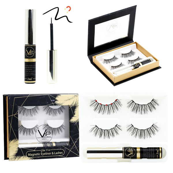 VIP Magnetic Lashes with Magnetic Eyeliner  - 2 pairs - BeautyGiant USA