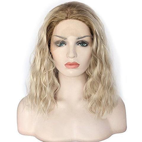 "Short Platinum Blonde Bob Wig Ombre Wavy Medium Length 2 Tone Heat Resistant Synthetic Hair Replacement Wig For Women(14"" Blonde) - BeautyGiant USA"
