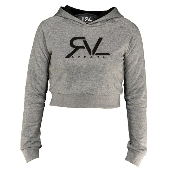 Signature - Women's Crop Hoodie - Heather Grey/Black