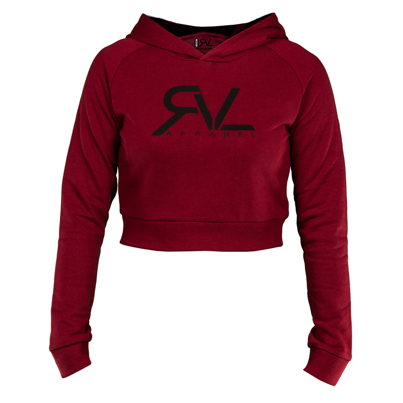Signature - Women's Crop Hoodie - Maroon/Black