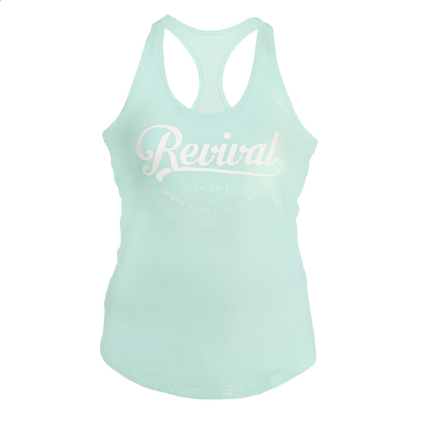 Composition - Women's Tank - Teal/White