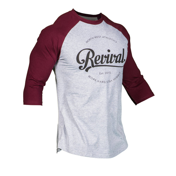 Script Baseball Tee - Heather Grey/Maroon