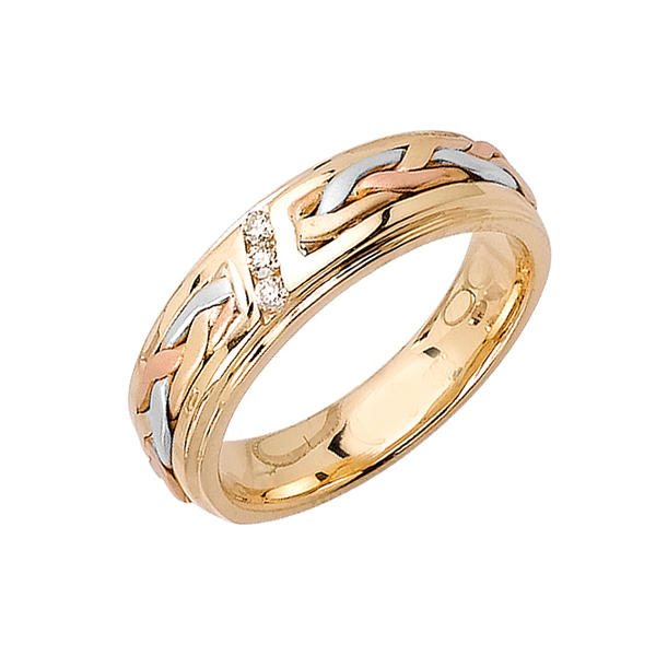 14K 3-TONE GOLD DIAMOND WEDDING BAND