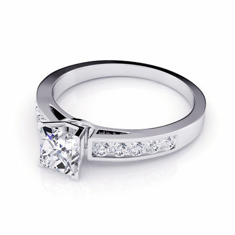 Princess & Round Cut Diamond Engagement Ring 18K Gold