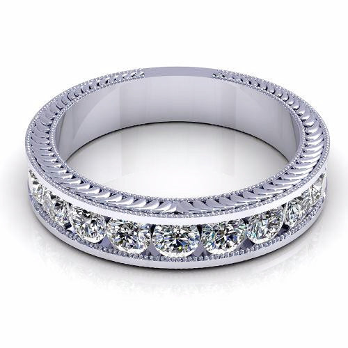 0.54CT TW Round Diamond Vintage Band 18K Gold