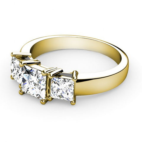 1CT TW Princess Cut Diamond Three Stone Ring 18K Gold