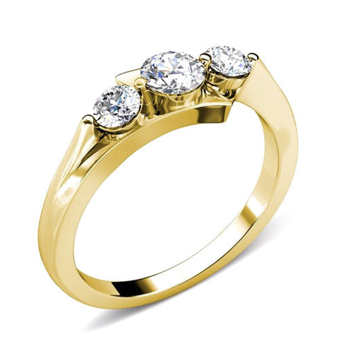 0.85CT TW Round Cut Diamond Three Stone Ring 18K Gold