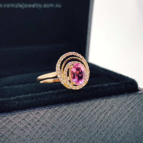Natural Rubellite Tourmaline Diamond Ring 18K Rose Gold