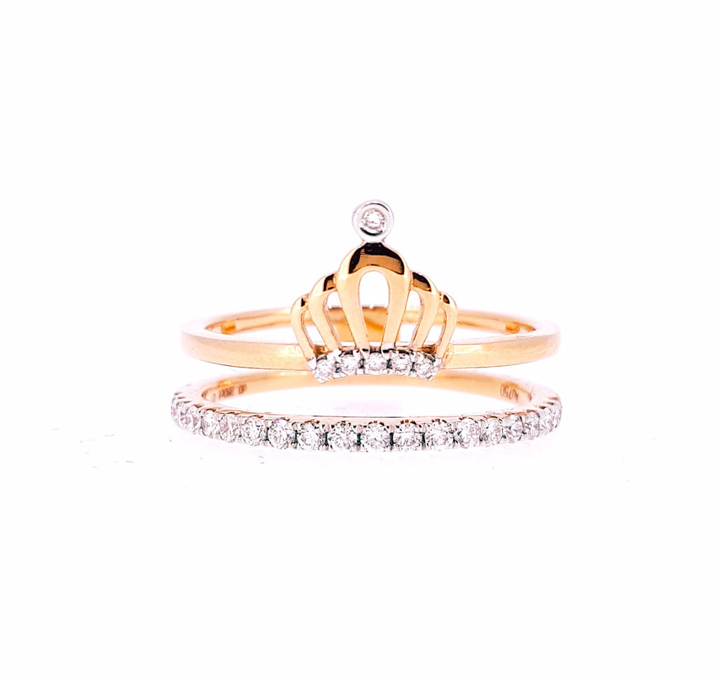 Crown Diamond Ring 18K Rose Gold