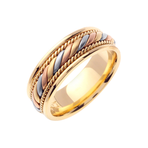 14K 3-TONE GOLD WEDDING BAND