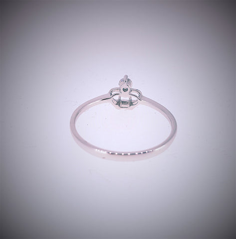 Crown Diamond Ring 18K White Gold