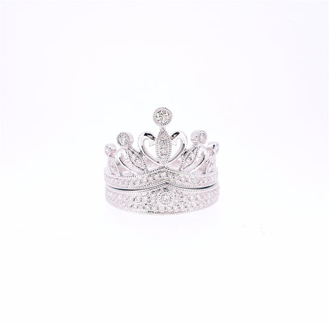 Crown Diamond Bridal Set Ring 18K White Gold