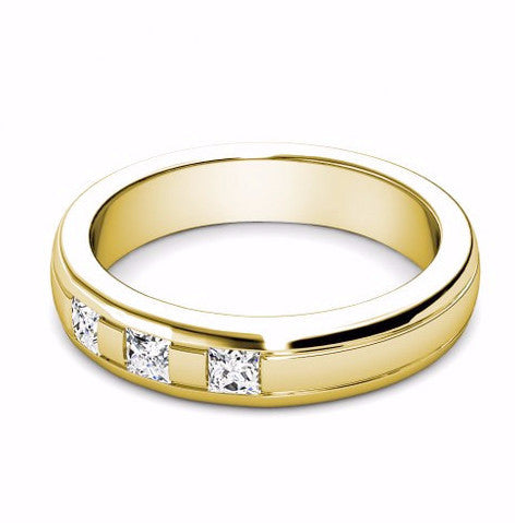 0.24CT TW Round Cut Diamond Wedding Band 18K Gold