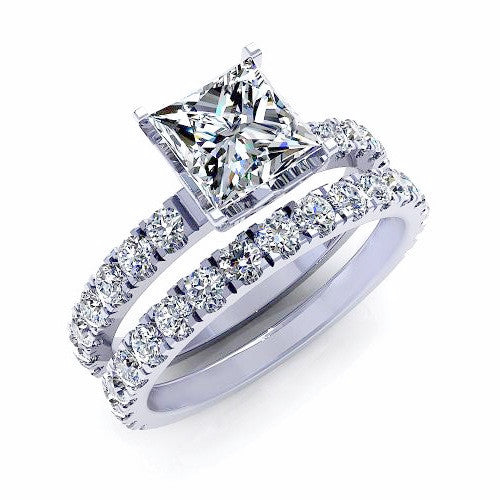 Princess & Round Cut Diamond Bridal Set Ring 18K Gold